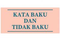 Pengertian Kata Baku dan Tidak Baku