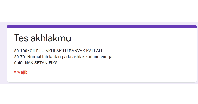 Link Ujian Tes Akhlakmu Google Form Docs