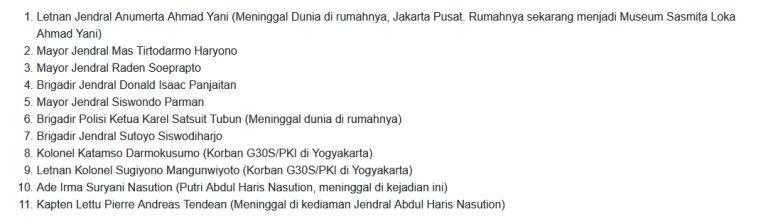 Peristiwa Sejarah Singkat G30S/PKI